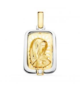 Medalla Virgen Niña Oro y Plata Rectangular