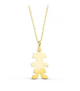 Collar personalizado silueta niña Oro 18K colgante mama, regalos para el dia de la madre