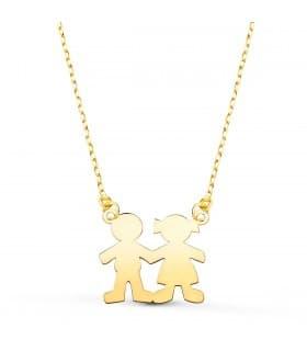 Collar personalizado silueta niño y niña Oro 18K colgante mama, regalos para el dia de la madre