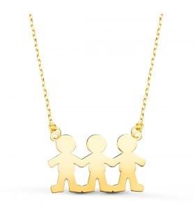 Collar personalizado silueta 3 niños Oro 18K colgante mama, regalos para el dia de la madre