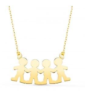 Collar personalizado silueta 4 niñas Oro 18K colgante mama, regalos para el dia de la madre