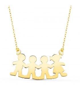 Collar personalizado silueta 3 niños y niña Oro 18K