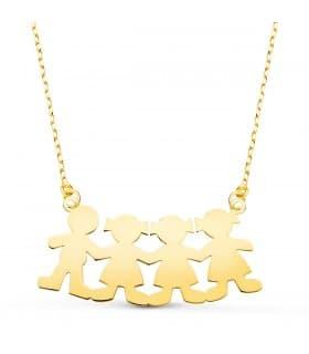 Collar personalizado silueta 1 niño y 3 niñas Oro 18K