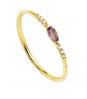 Anillo Bergman Oro 18K Diamantes 0.030 Qts. Aguamarina anillo con diamantes