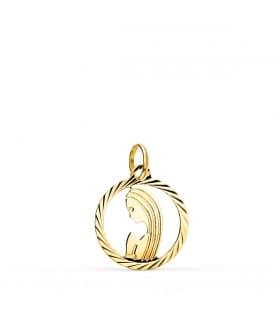 Medalla Oro 9k Virgen Niña 15 mm
