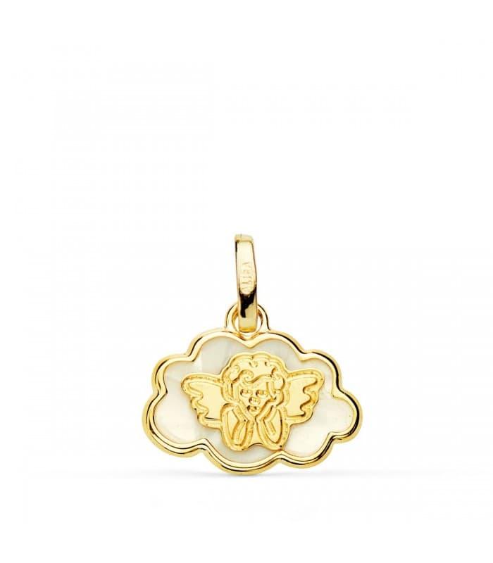Medalla Oro 9k Angelito Nube Nácar