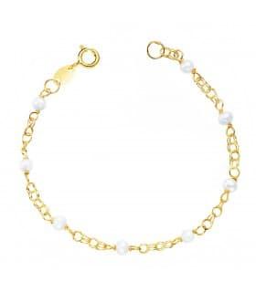 Pulsera Martina oro 18K Perlas pulsera de bebe niña regalos de nacimiento bautizo