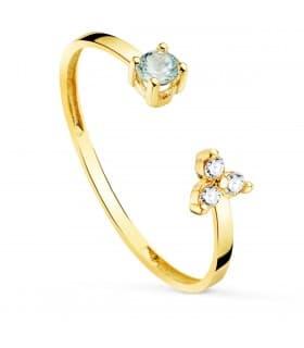 Anillo Bardot Oro 18K Aguamarina y Diamantes