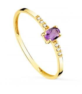 Anillo Garbo Oro 18K Amatista y Diamantes