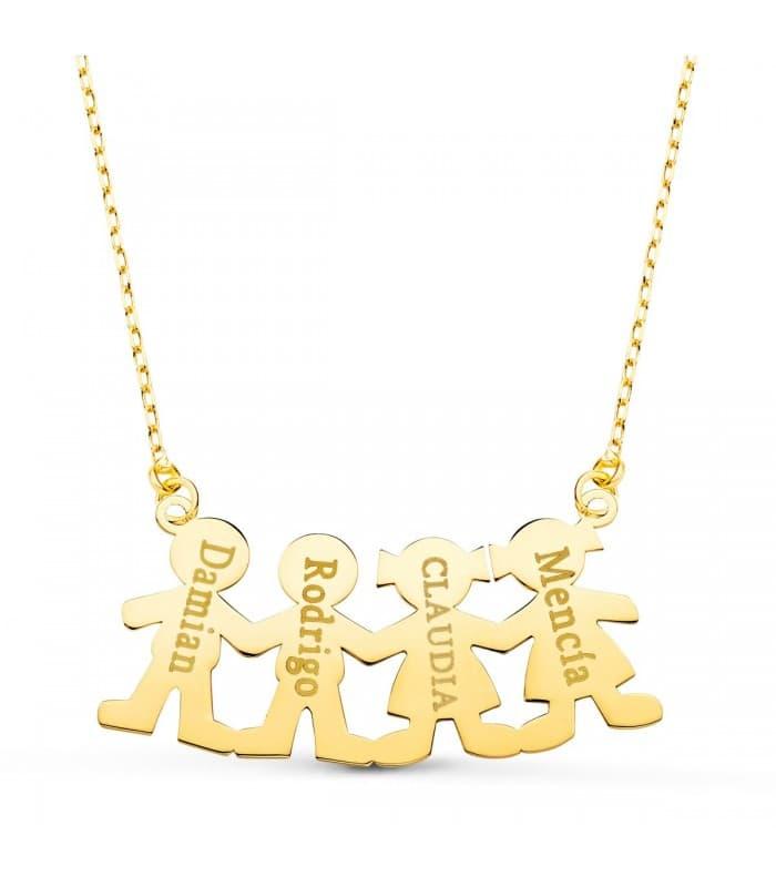 Collar personalizado silueta 2 niños y 2 niñas Oro 18K colgante mamá, regalos para el día de la madre