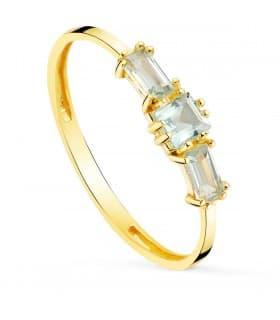 Anillo Queen Topacio Azul Oro Amarillo 18K anillo con piedras preciosas