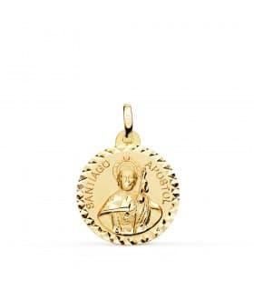 Medalla Santiago Apóstol Oro 18K 18mm Talla