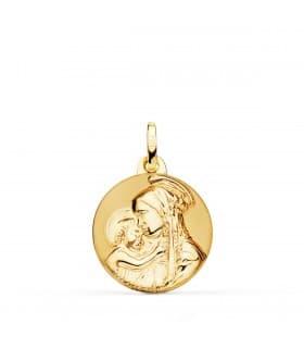Medalla Virgen Divina Ternura Oro 18k 18mm medalla religiosa personalizada colgante para grabar