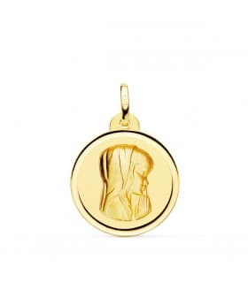 Medalla 18kt 20mm Virgen Niña Rezando Bisel