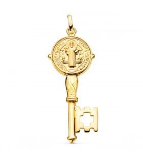 Colgante San Benito Monje Llave Oro 18K medalla medallon comprar colgantes para hombres de oro amarillo
