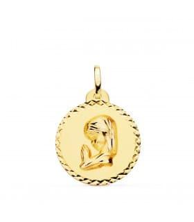 Medalla Virgen niña rezando 18K Talla 20mm comprar regalos para la comunión joyería online