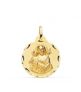 Medalla San José Oro 18K 22mm Tallada comprar joyas online, cómo personalizar colgantes