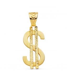 Colgante hombre Dólar Oro 18K
