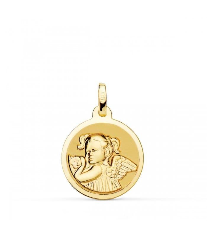 Medalla Niña Ángel Oro 18K 18mm Brillo