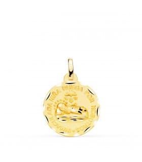 Medalla Virgen Inmaculada Niña Oro 18K 18MM Tallada