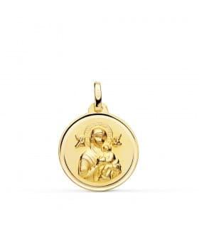 Medalla Virgen Perpetuo Socorro Oro 18K 18mm Bisel