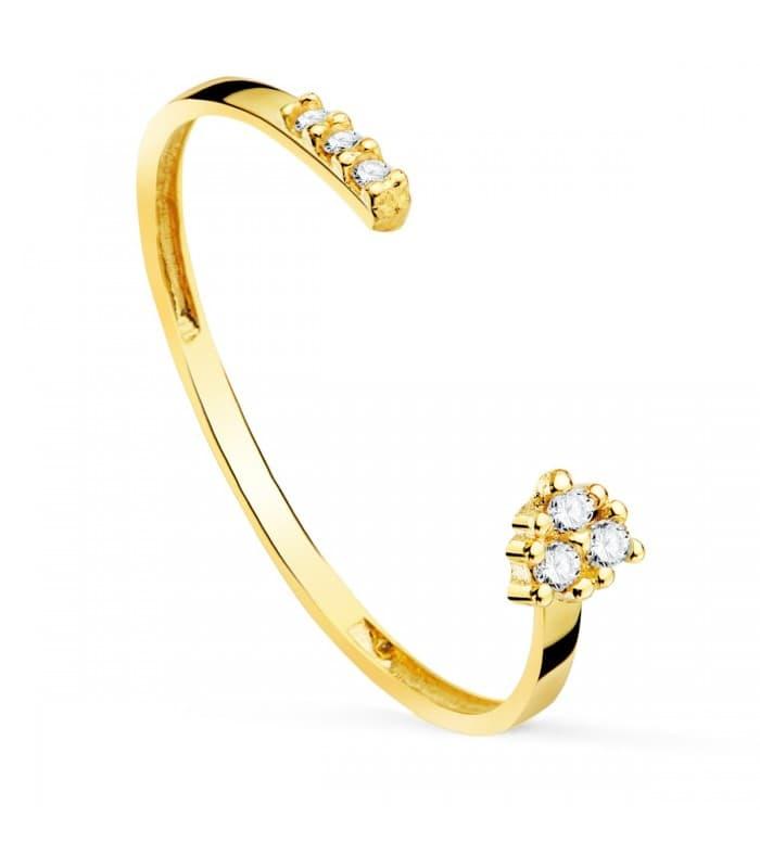 Anillo Skinny Oro Amarillo 18K Diamantes 0.025 Qts.