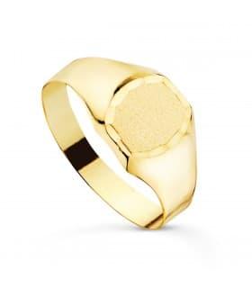 Anillo Sello Oro Amarillo 18K Grabado sello para mujer joyas personalizadas