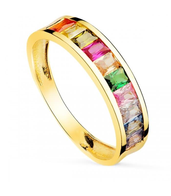 Anillo Arcoiris Oro Amarillo 18K