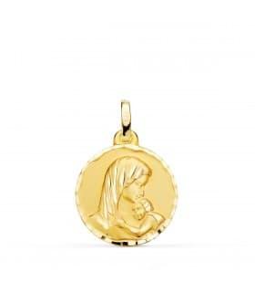 Medalla Virgen Dulce Madre Oro 18k 18mm Tallada
