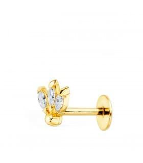 Pendiente piercing Oro Amarillo 18K Marquis mini piercing en oreja tragus helix conch daith