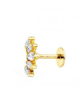 Pendiente piercing Oro Amarillo 18K Marquis piercing en la oreja tragus helix conch