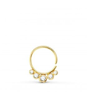 Piercing Aro Zircon Oro Amarillo 18K