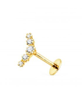 Piercing de oreja Zircon Oro Amarillo 18K