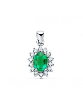 Colgante Evelyn Oro 18K Esmeralda y Diamantes 0.420 Qts.