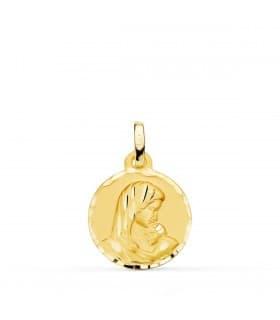 Medalla Virgen Dulce Madre Oro 18k 15mm