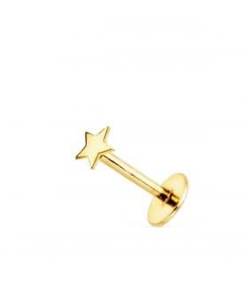 Piercing de oreja Oro Amarillo 18K Estrella
