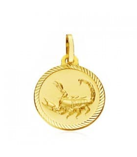 Medalla colgante horóscopo Escorpio Signo del zodiaco oro 18k