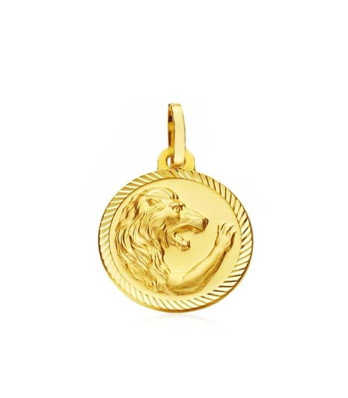 colgante signo del zodiaco medalla oro 18 ilates horóscopo Leo