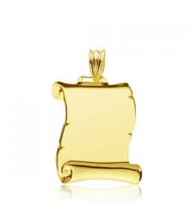 Colgante pergamino grupo sanguineo placa chapa para personalizar joya oro 18 kilates