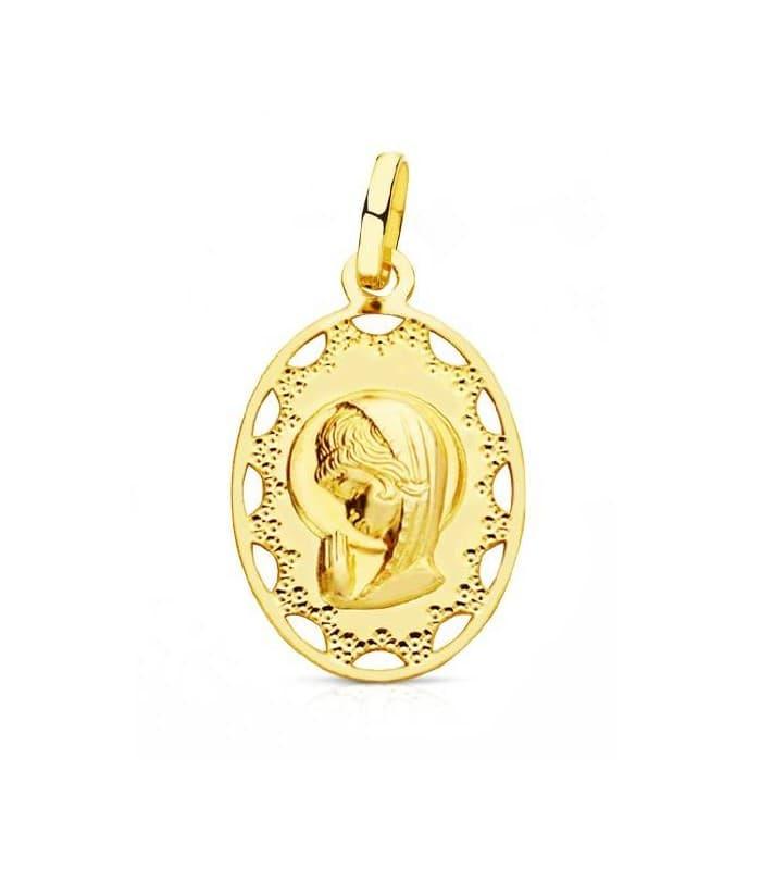 Medalla Virgen niña oval