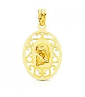 Medalla Virgen niña ovalada