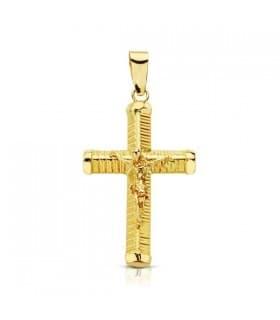 Cruz Cristo palo tallado
