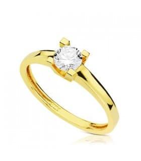 Solitario Anillo de pedida oro amarillo 18 kilates Sortija de mujer elegante casual moda