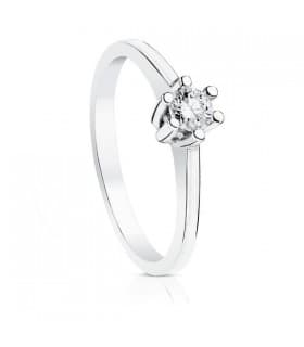 Anillo de compromiso oro blanco 18k solitario diamante brillante boda novia