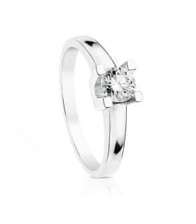 Solitario compromiso Parisee Diamantes quilates alta joyería oro blanco 18 kilates