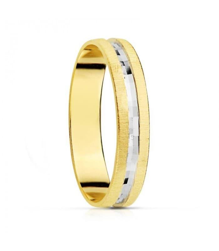 ALIANZA recta oro BICOLOR 18 kts. anillo de boda joyeria online grabado