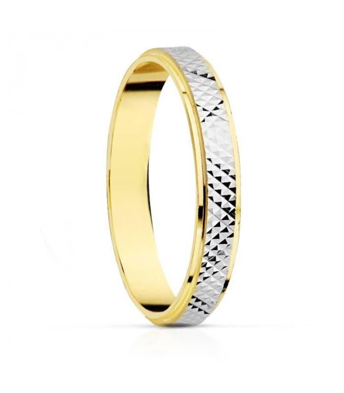 ALIANZA BICOLOR 18 kilates anillo de boda joyeria online grabado