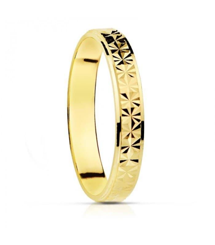 ALIANZA DIAMANTADA 3mm 18 kts. anillo de boda joyeria online grabado
