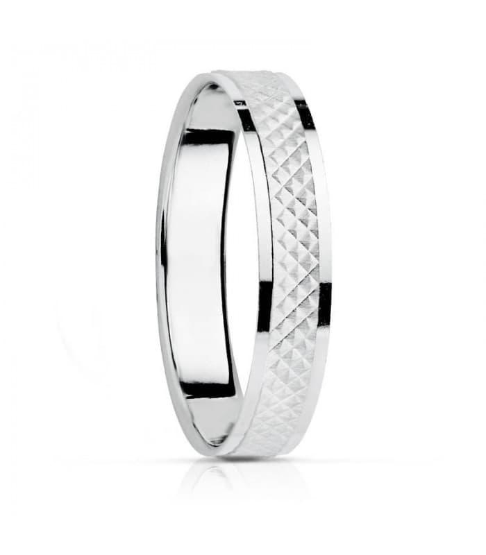 Alianza textura en oro blanco. anillo de boda joyeria online grabado