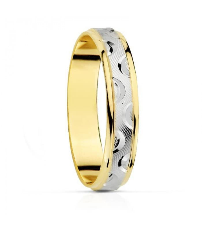 ALIANZA BICOLOR ONDAS. oro 18 kilates anillo de boda joyeria online grabado
